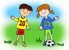 cartoon boy and girl playing with soccer ball