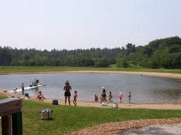 People standing on a sandy beach beside a pond