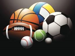 basketball, football, soccer ball, tennis ball, golf ball, baseball, volley ball images on black bac
