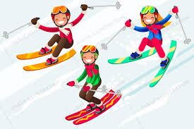 three cartoon kids skiing in brightly colored clothes